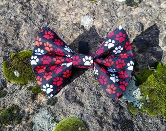 Black/Red/White Dog Paws, Paws of Love Dog Collar Bow Tie