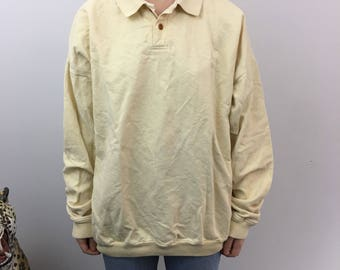 90s Style Orvis Yellow Off White Collared Long Sleeve Rugby Polo Shirt - Large