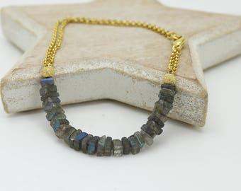 Labradorite Layer Bracelet, Labradorite Gold Bracelet, Labradorite Gold Layer Bracelet, Gold chain and Labradorite Bracelet