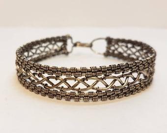 Silver woven braided bracelet