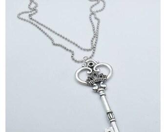 Skeleton Silver Key long necklace