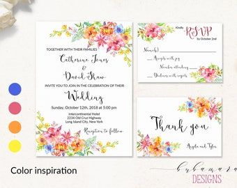 Tropical Floral Wedding Invitation Suit Red Orange Yellow Hibiscus Blue Boho Flowers Digital Wedding Invite Set Summer Beach Wedding - WS022