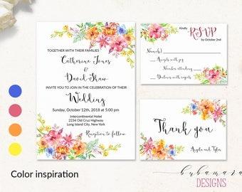 Tropical Floral Wedding Invitation Suit Red Orange Yellow Hibiscus Blue Boho Flowers Digital Wedding Invite Set Summer Beach Wedding - WS022