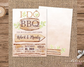 I Do BBQ Couples Shower Invitation Printable Rustic Brown Wood I Do BBQ Bridal Shower Invite Barbeque Engagement Party Invite - BS023