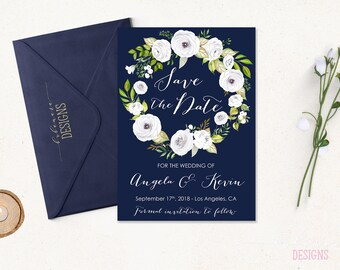 Navy White Floral Save the Date Invitation Wedding White Peonies Wreath Printable Boho Save the Date Fall Invite Romantic Invite - WS050