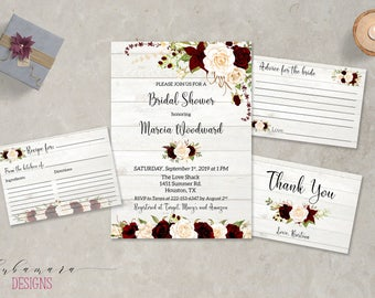Marsala Rustic Bridal Shower Invitation Printable Floral Boho Bridal Shower Invite Beige Blush Flowers Roses Bridal Shower Invite - BS021