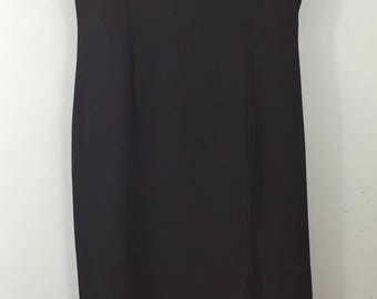 Richards Opera vintage long black crepe dress UK 12/14 bead neckline evening party