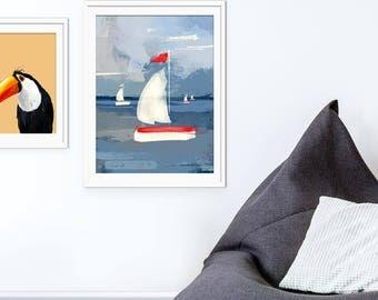 Sailing Children's Art Print, Boat Art Print, Boat Picture, Sailboat Print, Children's Boat Picture, Wall Decor, Nursery Wall Art,