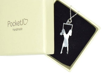Flying trapeze - aerialist necklace - aerial trapeze necklace- aerial necklace - circus pendant - aerial pendant - kinky gift