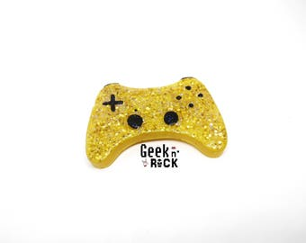 SALE 50% brooch geeky gamer video game controller gaming glitter resin
