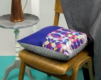 Purple and Geometric Multicoloured Cushion
