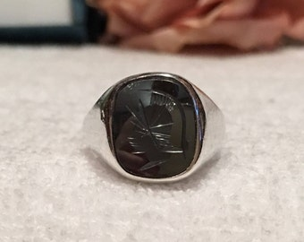Outstanding Vintage SCOTTISH Sterling Silver Carved Roman Centurion HEMATITE Ring-By Magnus Maximus Design-EDINBURGH 1979-Uk  S-Us  9 & 1/8