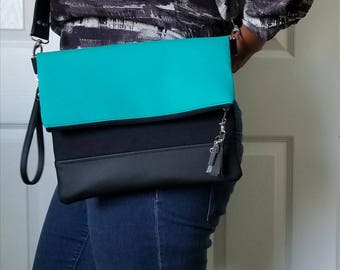 Teal Black Crossbody Bag, Black Faux Leather, Crossbody Purse, Clutch, Wristlet, Shoulder Bag, Crossbody Handbag, Crossbody Bags for Women
