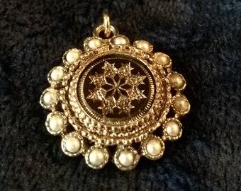 Vintage Pendant, Damascene, Faux Pearl, Gifts for Her, Damascene Jewellery, Toledo