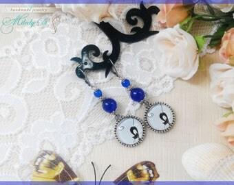 Denim blue earrings Cat earrings Cat lover gift for daughter Chandelier earrings Cat eye jewelry Long earrings for woman Drop earrings gift