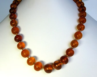 Antique / Art Deco / Natural Amber Necklace / Baltic Amber / Sweden / Graduated / Round Beads / Sterling Silver Filigree Clasp / Authentic