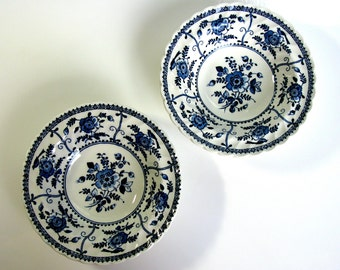 Pair of Johnson Brothers Indies / Ironstone Bowls / England Porcelain / Blue & White / Dessert Bowls / Fruit Bowls / Soup Bowls / Set of Two