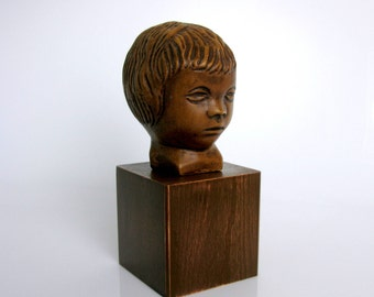 Mid Century / Modern / Young Girl / Head on Wooden Base / Sculpture / Gebroeders van Paridon / nr. 241/ Child's Head / The Netherlands / 60s