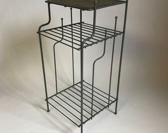 Midcentury Gray Metal Stand/ Side table