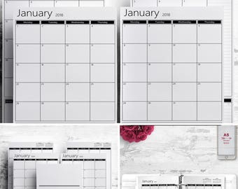 2018 2019 2 Box Monthly Printable Planner, A5 Half A4 Letter, 8.5 X 5.5, Monthly printable calendar inserts Filofax Bullet Journal