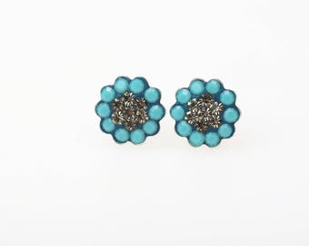 Sterling Silver Pave Radiance Stud Earrings, Swarovsky Crystals, 7mm Flower, Turquoise and Black Diamond Color, Unique Korean Style