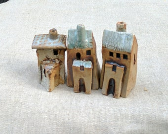 Ceramic house, pottery and ceramics, Tiny fairy house, Little House, Clay house, Mini house, Terrarium  house, Garden decor, SET of 3