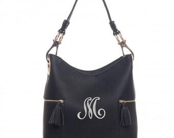Monogrammed Double Tassel pocket Black hobo bag -The Morgan