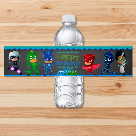 PJ Masks Birthday Drink Label - Blue & Green Chalkboard - PJ Masks Water Bottle Label - PJ Masks Birthday Party - Pj Masks Party Printable