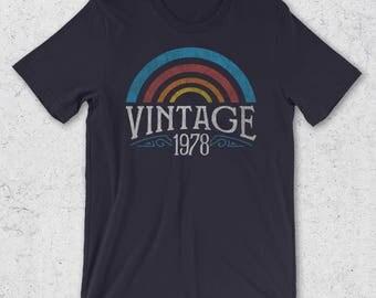 40th Birthday Gifts for Men & Women -  Vintage 1978 T-Shirt- Retro Graphic Tees - 40th Birthday Gift Ideas  40th Birthday Shirt- 1978 Shirts