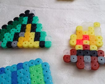 Camping - magnet set 2 / hama beads / camping lover / kitchen decor / outdoorsy / tent / campfire / birthday gift / outdoors theme / camping