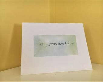 """Thank You Card Set // Hand-Painted Design // Blue & Green Watercolor Marble w/ """"Thanks"""" Calligraphy // 5.5"""" x 4"""" // Set of 5"""