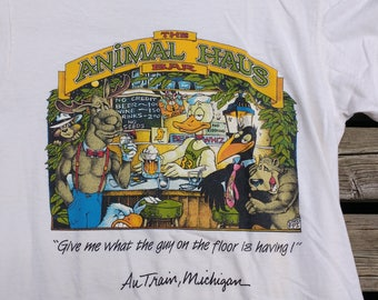 "Vintage 80's / 1988 / ""The Animal Haus Bar"" in Au Train, Michigan, Upper Peninsula Made in USA t shirt Sized L / Paper Thin Deadstock"