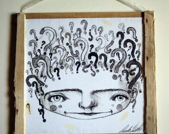 Print-Original design print-ink-framed print-decoration-philosophy-Questions-uncertainty-doubt-thinker-decoration-irony