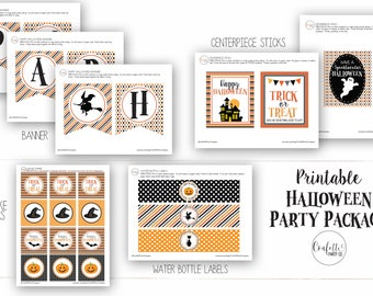 Halloween Party Printables Pack - Halloween Kids Party Printable Package - Halloween Printables - Halloween Decorations -  Instant Download