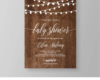 Baby Shower Invitation Template, Printable Baby Shower Invite, Rustic Wood String Lights, Instant Download, Editable Text, Digital #031BS