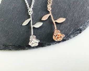 Beautiful rose necklace , rose jewellery , flower necklace , roses , rose gold , silver rose , flower gifts , jewelry , rose , accessories,