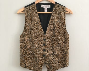 FREE US SHIPPING | Vintage Leopard Print Vest w Black Satin Back and Interior Lining  | Small - See Measurements
