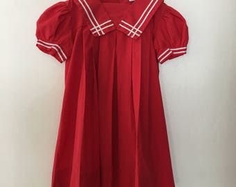 Vintage Toddler LIttle Girls Sailor Dress Red with White Trim Size 5T