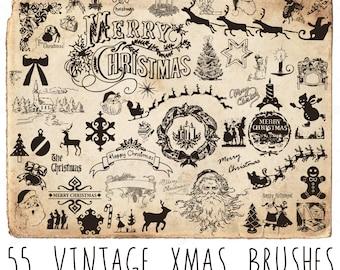 55 Vintage Christmas Brushes - Photoshop Brushes - Christmas Silhouettes - Beautiful Brushes - Xmas Brushes - Commercial & Personal