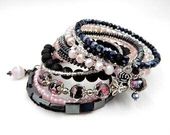 Pink beaded bracelet, pink memory wire bracelet, memory wire wrap bracelet, pink bracelet, rose bracelet, charm bracelet, wrap bracelet