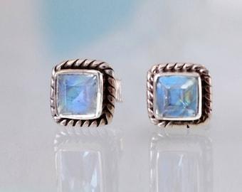 Rainbow Moonstone Stud Earrings, Silver Gemstone earrings, Silver Earrings, Post Earrings, June birthstone earrings, nautical earrings, rope