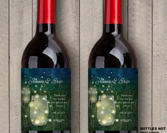 """Printable Rustic Meadow Summer Night Mason Jar & Fireflies Wine Bottle Labels; Personalized 4"""" x 5"""" Labels - Editable PDF, Instant Download"""