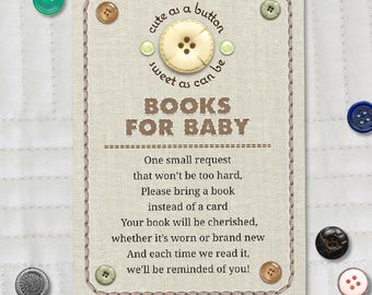 """Printable Cute as a Button Baby Shower Baby Book Request Card, Four 3.5""""x5"""" Cards, Instant Download JPG"""