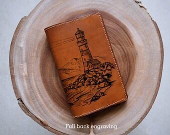 Man wallet/handmade leather wallet/Light House/Ocean wallet/customized wallet/boyfriend gifts/birthday gifts/Landscape wallet/Personalized