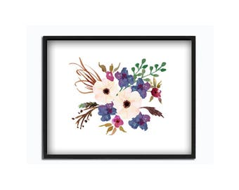 Watercolor flower bouquet print wall art flower poster