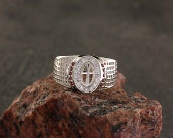 Cross men ring, Cross signet ring, Men signet ring, Christian ring, Signet ring with stones, Men silver ring, Silver ring for him, Ring men