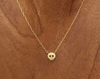Gold Plated Mini Skull Necklace with Gold Filled Chain