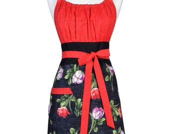 Cute Kitsch Retro Kitchen Apron in Tulips on Red and Black Spring Vintage Style with Lined Pocket and Fitted Bodice Top