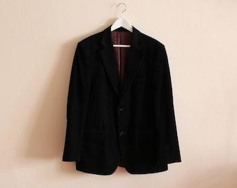 Men's Sport Coat Black Sport Blazer Men Corduroy Blazer Black Blazer  Vintage Corduroy Jacket Hipster Boyfriend Suit Jacket Gift