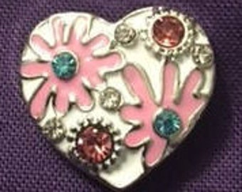 Super Cute Heart Snap with Pink Flowers and Dark Pink Rhinestones - Fits Your 18mm Snap Jewelry
